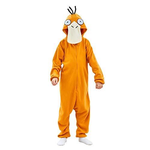 Unisex Sleepwear Pajama Plush Onesie One Piece Animal Costume Kids Fleece Pajamas (120(Height:45'-49'),Duck)