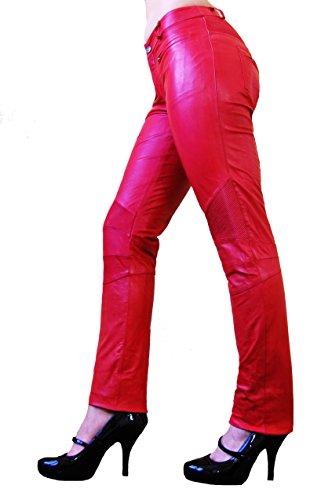 RICANO DONNA Damen Lederhose, Ziegen Nappa Echtleder (Rot, 2XL)
