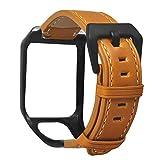 VVXXMO Cinturino da polso sostituito in vera pelle, fibbia in metallo, adatto per TomTom Runner 2 3/Spark 3 Cardio/Musica/Avventuriero/Golfer 2, accessori per orologi