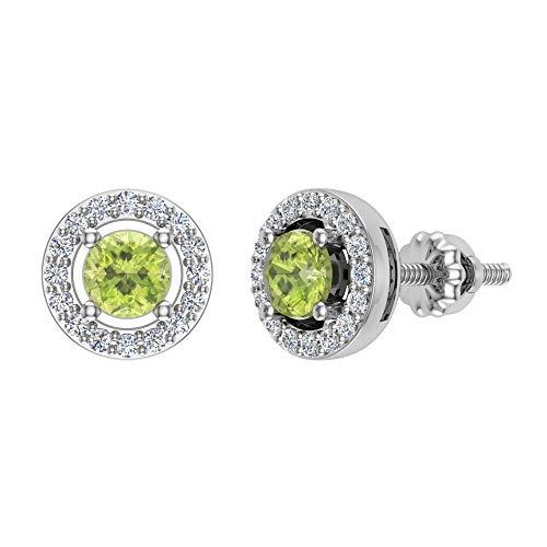 Photo of 14K Gold Peridot Diamond Earrings August Birthstone Halo Studs Clear