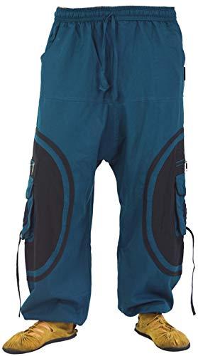 Guru-Shop, Goahose, Uomini Afghani, Benzina Nero, Cotone, Dimensione Indumenti:L XL (54), Pantaloni