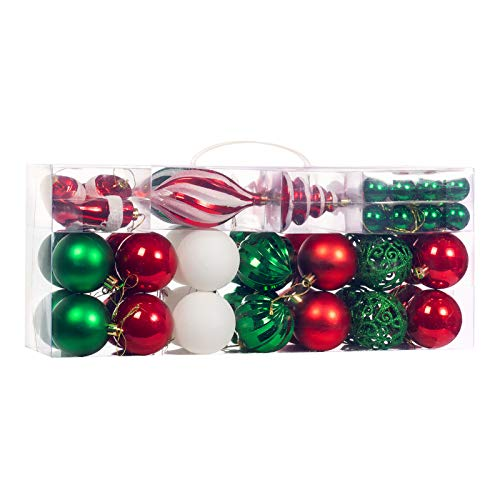 XmasExp 67-Pcs Christmas Ball Ornaments Assorted Shatterproof Christmas Ball Set with Reusable Hand-held Gift Package for Xmas Tree Decoration