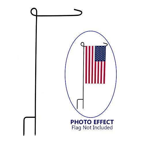 "KINREX Garden Flag Pole Holder Stand - Black Metal Iron Wrought Stake Poles for Outdoor Garden Lawn Yard - 3 Piece Set - 35"" Tall x 15.5"" Wide"