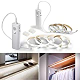 Rechargeable Motion Sensor Strip Light, WOBANE Battery Operated LED Cabinet Lights, Wireless Closet Light,Stick Anywhere Nightlight,Under Counter Lighting Bar for Wardrobe,Cupboard, Stair,2 Pack