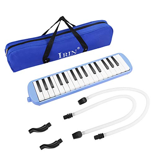 Flexzion Melodica 32 Key (Blue) Blow Piano Keyboard Harmonica Wind Instrument/w Portable Carrying Bag, 2 Long Tube Mouthpiece, 2 Trumpet Mouthpiece Kit for Beginners Kids Fun Music Gift