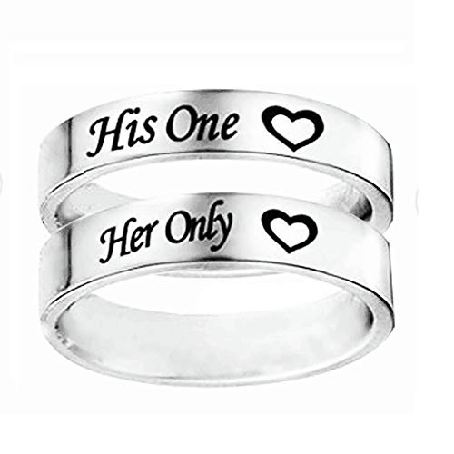 Malinmay Stainless Steel Rings Set, High Polished Engraved Heart Her Only and His One Stainless Steel Couple Ring Sets for Couples Wedding Promise Anniversary