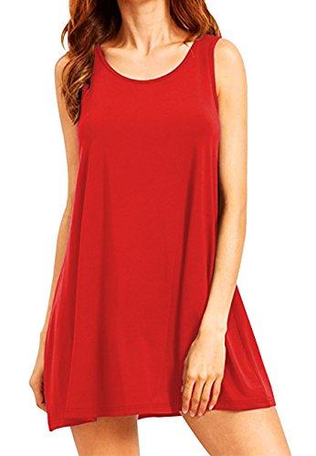 OMZIN  Damen Größe Casual Shirtkleid Langes Shirt Tunika Große Vestkleid, XXL, 1-rot