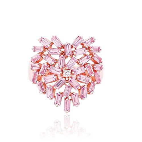 CTDMMJ Oro Rosa Rosa circonita cúbica Rosa Anillo de corazón Amante Regalo de San Valentín Rosa Mujer joyería