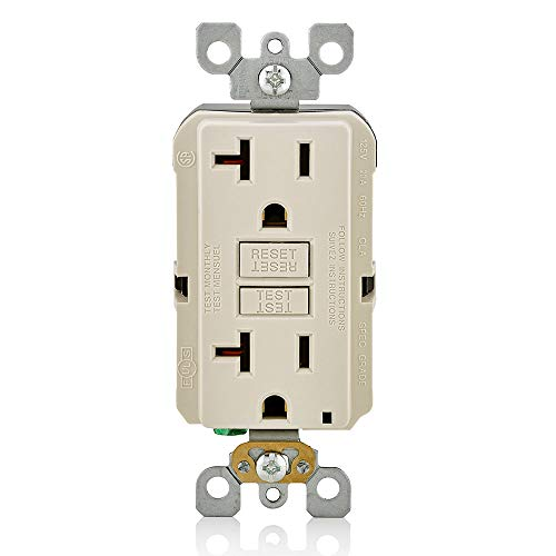 Leviton GFNT2-T Self-Test SmartlockPro Slim GFCI Non-Tamper-Resistant Receptacle with LED Indicator, Wallplate Included, 20-Amp, Light Almond