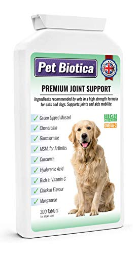 Pet Biotica Premium Dog Joint Supplements, 300 Tablets with Green Lipped Mussel, Chondroitin, Glucosamine, MSM, Cucumin and more. All essential ingredients needed known to effectively work.