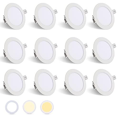 Hengda IP44 12x6W LED Einbauleuchten Ultra Flach Rund Strahler 3 Farbtemperaturen Dimmbar Panellampe