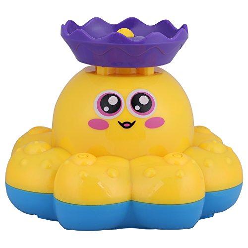Giocattolo del bagno doccia di spruzzo elettrica del polipo Acqua piovra galleggiare fontana girevole Vasca piscina dell'acquazzone per il bambino (Yellow)