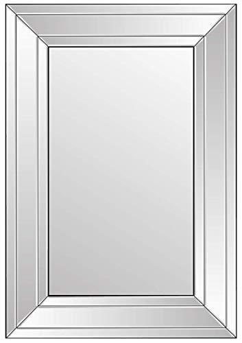 Klein zwart en zilver moderne afgeschuinde Venetiaanse spiegel.