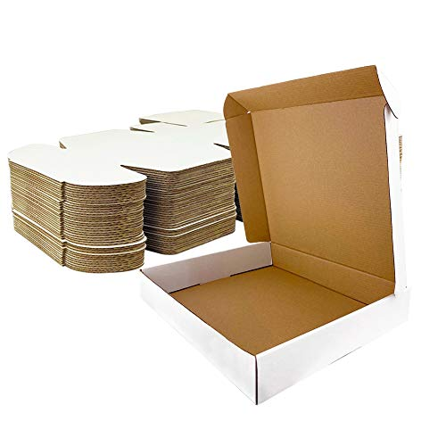 Giftgarden Caja de Cartón Kraft 30.5x22.9x7.6cm, Color Blanco, Cajitas de Carton Corrugado para Envíos, 25 Unidades
