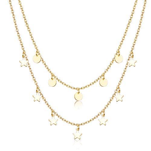 sailimue Collares Dobles para Mujeres Niñas Collar Delicado con Colgantes de Pequeña Estrella Moneda Cadena de Clavícula Collar Regalo