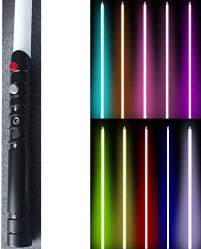 zzj Sable de luz Fx juguete sable fuerza sable láser con sonido y luz de metal hilt color negro mango rgb puede cambiar de color