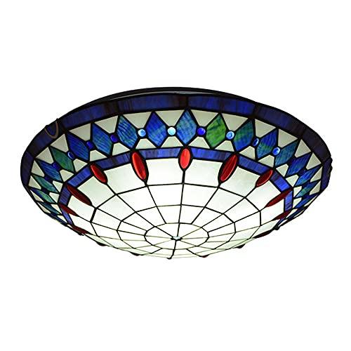 Lámpara de techo estilo Tiffany, pantalla de cristal, hecha a mano, lámpara de techo de 2 focos, casquillo E27, para dormitorio, decoración interior, oficina, cocina, balcón, diámetro 30 cm
