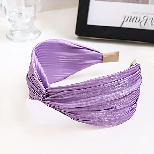XINDUO Diadema para Mujer Turbante Bohemia,Banda de Pelo de Tela de Seda Brillante de Color sólido de Moda-púrpura,Boho Diademas para Mujeres