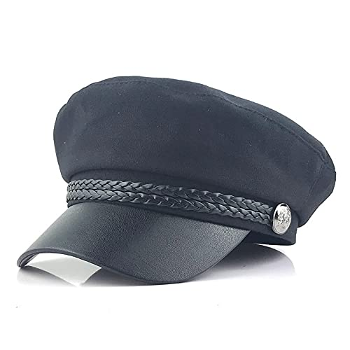 NJJX Sombrero Octogonal De Lana De Color Puro, Gorra De Otoño E Invierno para Mujer, Boina Casual para Hombres Jóvenes Y Salvajes, Negro