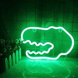 4. LUCUNSTAR Dinosaur Head Green Neon Light