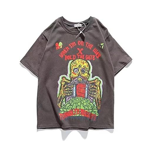 WYLYSD Camiseta De Calavera Harajuku Hip Hop Camiseta De Hombre Streetwear Algodón Tallas Grandes Impreso Cuello Redondo Suelto Manga Corta Gris