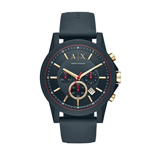 Armani Exchange Herren Chronograph Quarz Uhr mit Silikon Armband AX1335