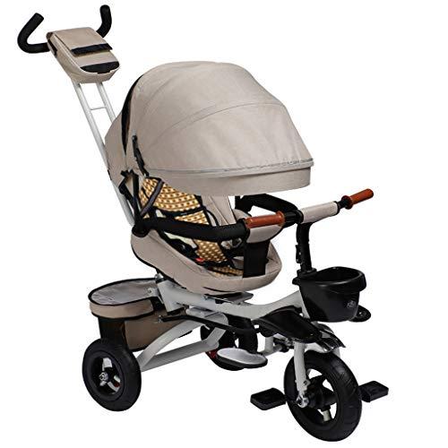 NBgy peuters outdoor 4-in-1 driewieler, 1-6 jaar baby driewieler khaki, kinderen inklapbaar zonnedak blauw driewieler met draaistoel