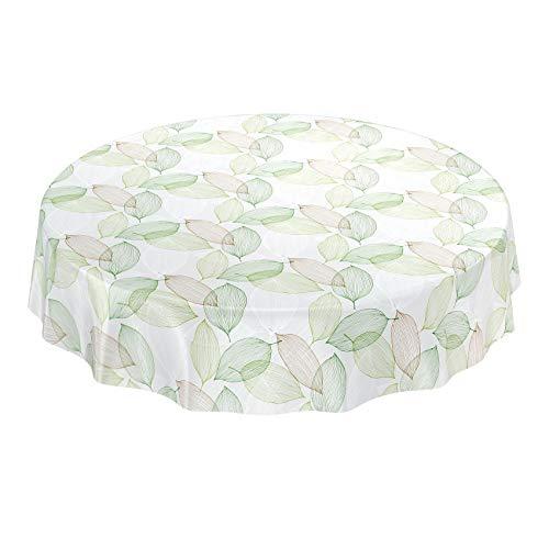 ANRO Wachstuchtischdecke Wachstuch Wachstischdecke Tischdecke abwaschbar Abstrakt Stimmung Laub Grün Rund 140cm