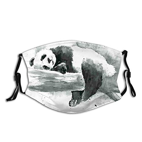 DPASIi Fashion 3D Face Protect Printed Gesichts-Mundschutz, Panda Lying on a Tree Branch Classic Asian Watercolor Painting Style Artwork Print