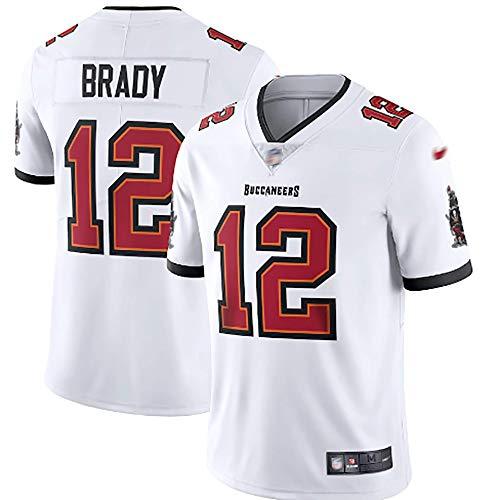 LKJHG Tampa Bay 12# Brady - Camiseta de fútbol americano, color blanco, manga corta, poliéster, para hombre, con bordado, tallas S-XXXL XL