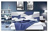 ONEK-DECCO Cabecero de Cama tapizado en Polipiel Mod. Brooklyn 3 para Cama de niño, Juvenil y Matrimonio (Blanco-Azul-Plata, 135x70)