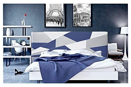 ONEK-DECCO Cabecero de Cama tapizado en Polipiel Mod. Brooklyn 3 para Cama de niño, Juvenil y Matrimonio (Blanco-Azul-Plata, 150x70)