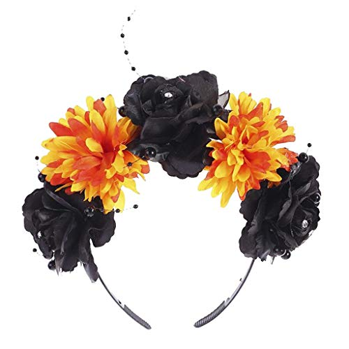 LOVIVER Halloween Headband with Flowers Floral Hair Hoop Garland Flower Wreath Headband Halo Floral Crown Garland Headpiece Wedding Festival Party for Halloween Party Dress up Favor - Black Orange