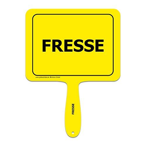 """""""Fresse"""" - Lustiges gelbes Kunststoffschild mit Griff - GELBE SCHILDER - DAS ORIGINAL"""