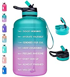 commercial Venture Pal Large 1 Galon Motivation Water Bottle, 2 Closures (Bite and Straw), BPA Seal … huge water bottles