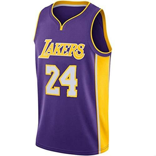 TINKOU NBA Hombres Mujeres Jersey Lakers No.24 Uniforme de Baloncesto Camisetas de Baloncesto Bordadas Transpirables Swingman,Púrpura,S
