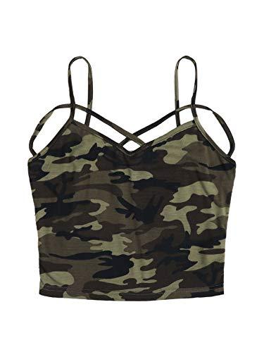 DIDK Damen Crop Shirt Bauchfrei Tops Spagehtti Träger Oberteil Top Cami Oberteil Basic Camisole Tanktops Ärmellos Shirts Camouflage#2 XL