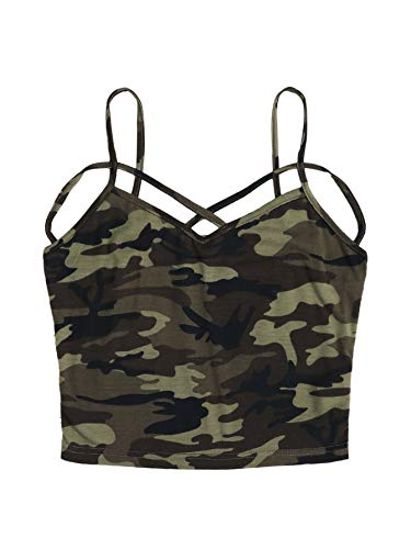 DIDK Damen Crop Shirt Bauchfrei Tops Spagehtti Träger Oberteil Top Cami Oberteil Basic Camisole Tanktops Ärmellos Shirts Camouflage#2 L