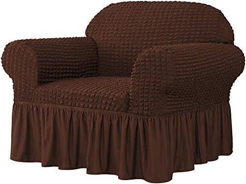 WLVG Funda universal para sofá, 1 funda de sofá ajustable, protector de muebles, lavable, tela Seersucker de alta elasticidad, duradera, con falda (chocolate, 1 plaza/silla)