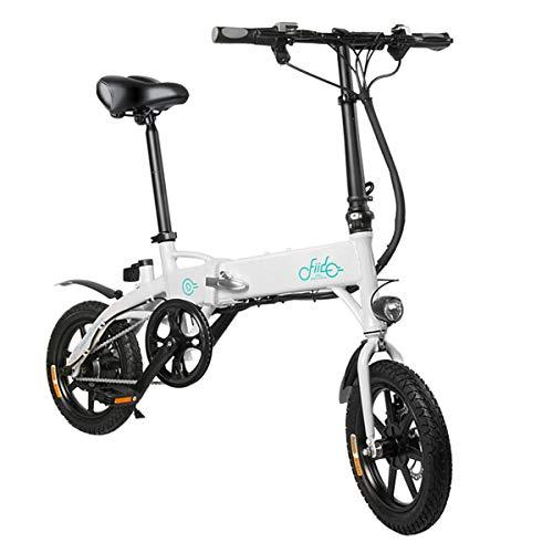 FIIDO Bicicletta Pieghevole -D1 10.4Ah Bici elettrica Leggera in Lega di Alluminio con Pneumatici in Gomma Gonfiabile a Batteria agli ioni di Litio di Grande capacità (Bianca)