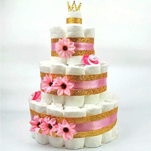 Soulstice® XXL Windeltorte in Pink & Gold für Mädchen, Prinzessinnen-Geschenk, Baby-Party oder Geburt, Windelkuchen mit 60 Pampers®