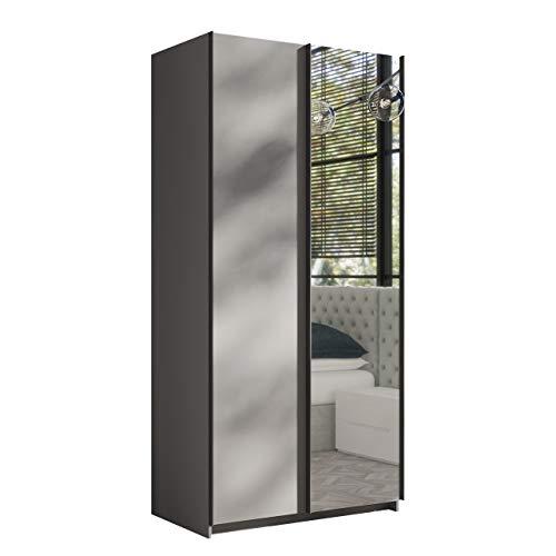 Mirjan24 Kleiderschrank Rick 100, Elegantes Schlafzimmerschrank mit Spiegel, 100 x 216 x 64 cm, Top-Qualität Praktischer Schwebetürenschrank, Schlafzimmer, Schiebetür, viel Stauraum (Grau)