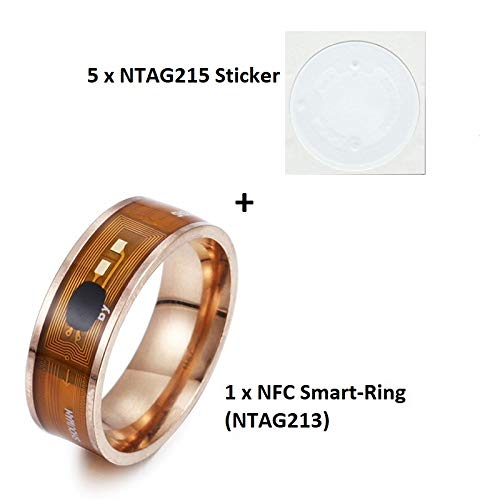 MCalle NFC Smart Ring met NTAG213 (180 byte) chip in de Amerikaanse maten 6-13 incl. 5 x NTAG215 (540 byte) sticker, 10, rosé