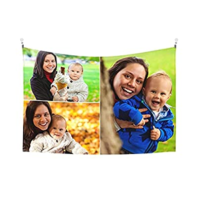 Custom Tapestry Personalized Design tapestry Customized Gifts Photos Collage Room Decor Birthday Fathers Mothers Day Gifts 60x51 Horizontal(3 photos)