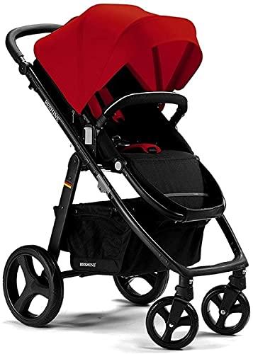Cochecito de bebé, cochecito urbano ligero del nacimiento, 2 en 1 cochecito de bebé multifuncional portátil alto paisaje (Color : Red)