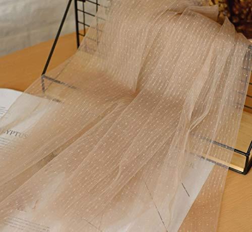 150Cm de Ancho Beige Blanco Gotas de Lluvia Estiramiento Malla Tela de Tul Vestido de Novia Decoración de la Boda Ropa de bebé Tela, Café Claro, L