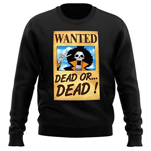 Pull Noir Parodie One Piece - Brook Wanted - Un Wanted Qui Tue !! YOHOHOHO !!! (Sweatshirt de qualité Premium de Taille XL - imprimé en France)