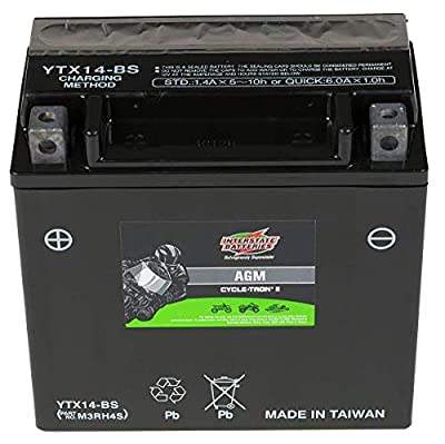 Interstate Batteries Cycle-Tron Powersports Battery CYTX14-BS 12V 12Ah Motorcycle ATV Battery Rechargeable Sealed AGM