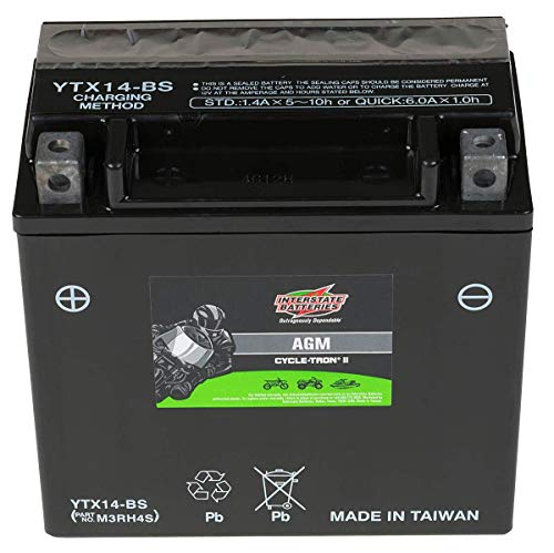 Interstate Batteries CYTX14-BS Cycle-Tron Powersports Battery 12V 12Ah Motorcycle ATV Battery Rechargeable Sealed AGM