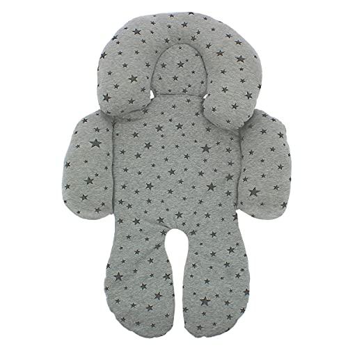 BEYBI Reductor bebé punto algodón universal para capazo, silla coche grupo 0, silla de paseo y cuna (gris estrella gris)